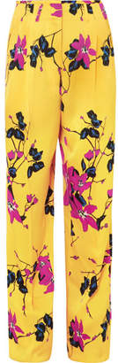 Etro Floral-print Crepe Wide-leg Pants - Yellow