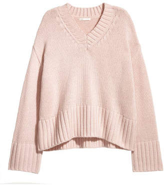 H&M Knit Wool-blend Sweater - Pink
