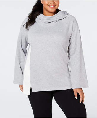 Calvin Klein Plus Size Velour-Trimmed Cowl-Neck Hoodie