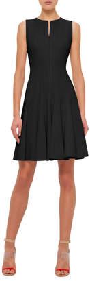 Akris Sleeveless Zip-Front Seamed A-Line Cotton Dress