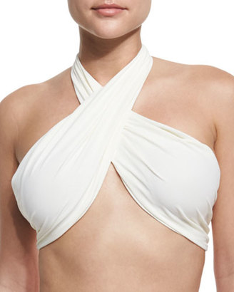 6 Shore Road by Pooja Bocas Convertible Halter/Bandeau Swim Top, Ivory $75 thestylecure.com
