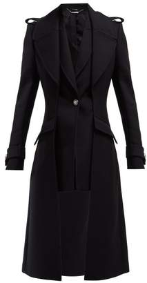 Alexander McQueen Scuba Wool Blend Military Style Coat - Womens - Black