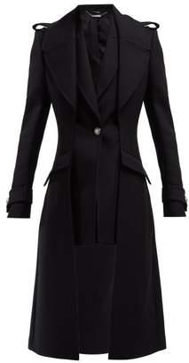 Alexander McQueen Scuba Wool Blend Military Style Coat - Womens - Black