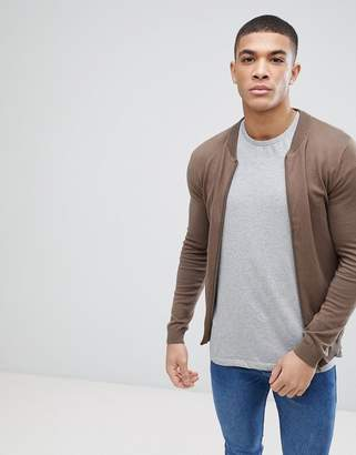 Asos Knitted Bomber Jacket In Brown