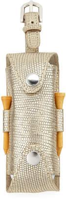 Neiman Marcus Metallic Snake-Embossed Leather Golf Ball & Tee Set