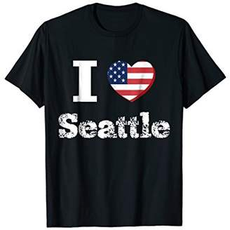 I Heart Love Seattle Patriotic Distressed Vintage T-Shirt