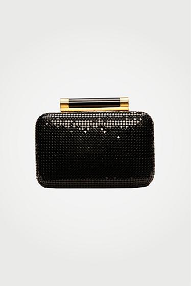 Diane von Furstenberg Tonda Chain Mail Small Clutch In Black