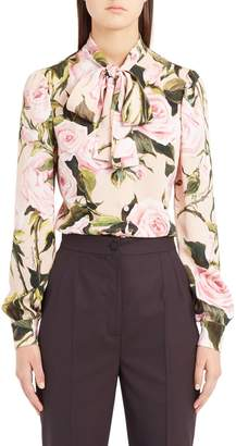 Dolce & Gabbana Rose Print Tie Neck Stretch Silk Blouse