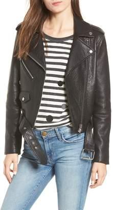 Current/Elliott The Biker Lambskin Leather Jacket