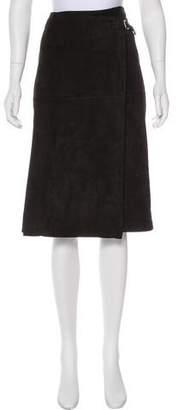 Hermes Knee-Length Suede Skirt