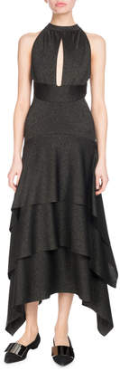 Proenza Schouler Halter Keyhole-Front Tiered Ruffle Cocktail Dress