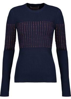 Jason Wu Woven Macramé-Paneled Ribbed-Knit Sweater