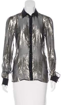 Ungaro Metallic Silk Blouse w/ Tags