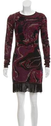 Rachel Zoe Knit Jacquard Long Sleeve Dress