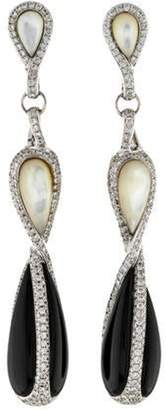 Di Modolo 18K 512ctw Onyx, Mother of Pearl & 1.71ctw Diamond Triadra Drop Earrings white 18K 512ctw Onyx, Mother of Pearl & 1.71ctw Diamond Triadra Drop Earrings