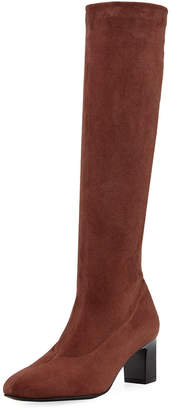 Robert Clergerie Palace Stretch-Suede Tall Boot