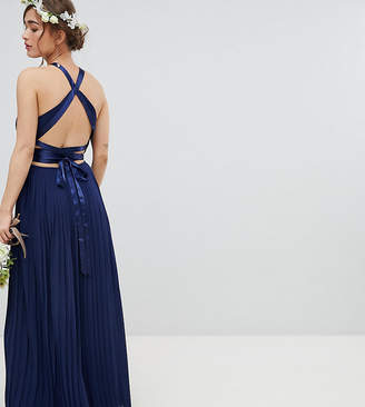 TFNC Petite Pleated Maxi Bridesmaid Dress with Cross Back and Bow Detail