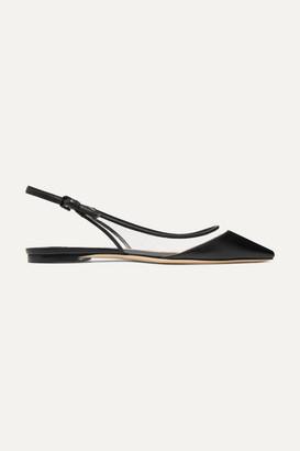 Jimmy Choo Erin Pvc And Leather Slingback Point-toe Flats - Black