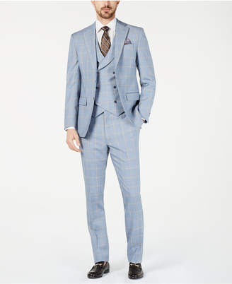 Tallia Men Slim-Fit Stretch Light Blue/Yellow Sharkskin Windowpane Vested Suit