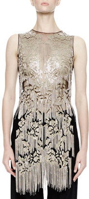Alexander McQueen Sleeveless Metallic-Chain Embellished Tunic, Black $10,995 thestylecure.com