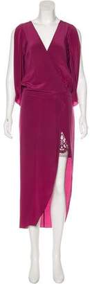 Michelle Mason Silk Cold-Shoulder Maxi Dress