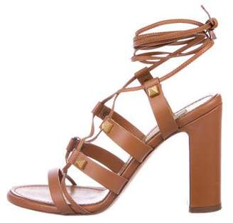 Valentino Rockstud Leather Lace-Up Sandals