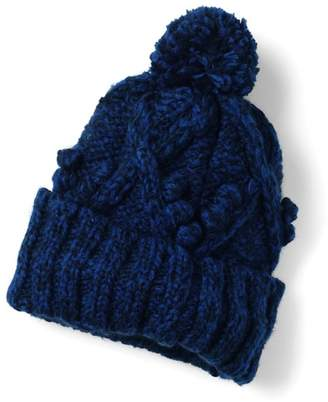 Lands' End Blue Aran Popcorn Stitch Slouchy Hat