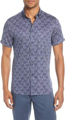 Ted Baker Sunflur Slim Fit Leaf Print Short Sleeve Button-Down Shirt
