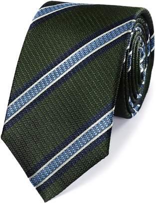 Charles Tyrwhitt Green and Sky Silk Textured Stripe Classic Tie