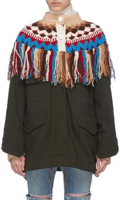 Sacai Graphic intarsia knit fringe yoke pinstripe twill jacket