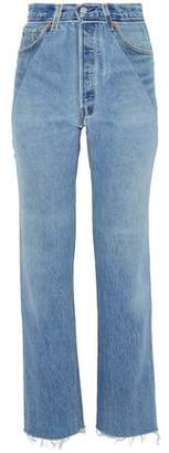 Levi's Re/Done By Paneled Distressed High-Rise Straight-Leg Jeans