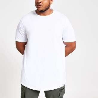 037f7ac7 River Island Mens Big and Tall White curved hem T-shirt