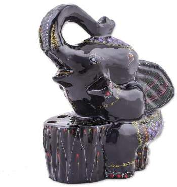 Flirty Elephant Handmade Lacquerware Wood Pencil Holder