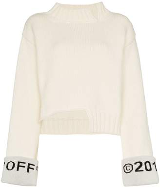Off-White knitted logo cuff wool blend sweater