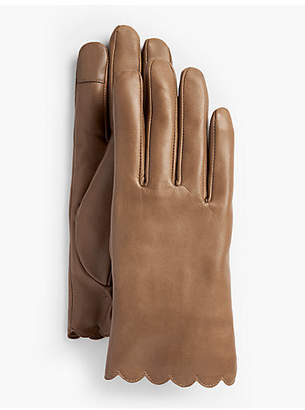 Talbots Scalloped Leather Touch Gloves