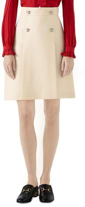 Gucci Tiger Button Wool & Silk Crepe A-Line Skirt