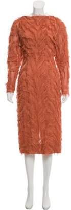 J. Mendel Fringe-Trimmed Semi-Sheer Midi Dress Orange Fringe-Trimmed Semi-Sheer Midi Dress