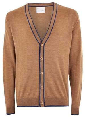 Topman Mens Brown Toffee Merino Tipped Cardigan