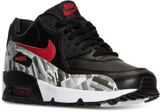 Nike Big Boys' Air Max 90 Print Leather Running Sneakers from Finish Line