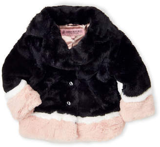 Urban Republic Toddler Girls) Black Faux Fur Colorblock Jacket