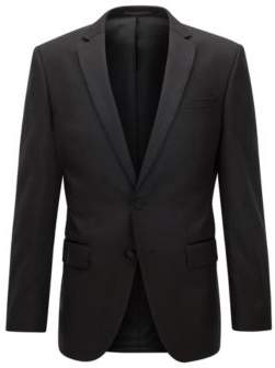 BOSS Hugo Italian Wool Suit Jacket, Slim Fit Hence CYL 38R Black
