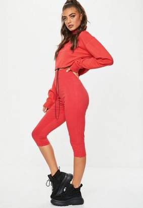 Missguided Red Cropped Jersey Leggings