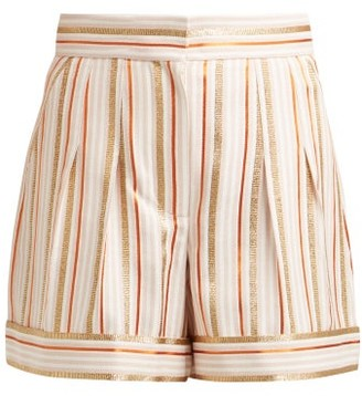 Peter Pilotto High Rise Striped Shorts - Womens - Pink Multi