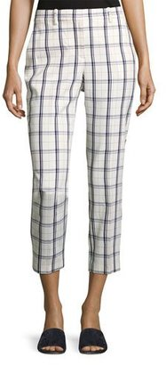 Theory Treeca Two-Mix Checked Cropped Pants, White/Blue $189 thestylecure.com