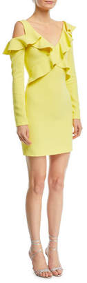 Cushnie et Ochs Bella Long-Sleeve Cold-Shoulder Ruffled Mini Dress