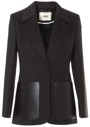 Fendi Leather Pocket Detail Single Breasted Blazer