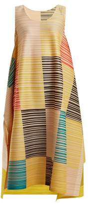 Pleats Please Issey Miyake Pleated Square Print Dress - Womens - Yellow Multi