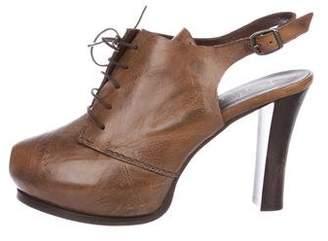 Henry Beguelin Leather Peep-Toe Booties