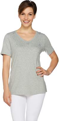 Factory Quacker Pawprint Rhinestone Embellished Knit T-shirt