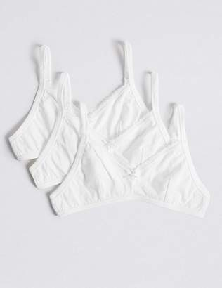 Marks and Spencer 3 Pack Pure Cotton Lace Trim Bras